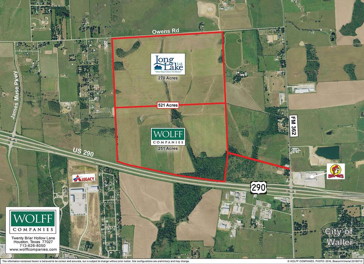 Houston-based Wolff Cos. has acquired 521 acres along U.S. 290 in Waller for a the Waller Hill business park and a residential development by Long Lake Ltd.The land is on the north side of U.S. 290, west of FM 362.