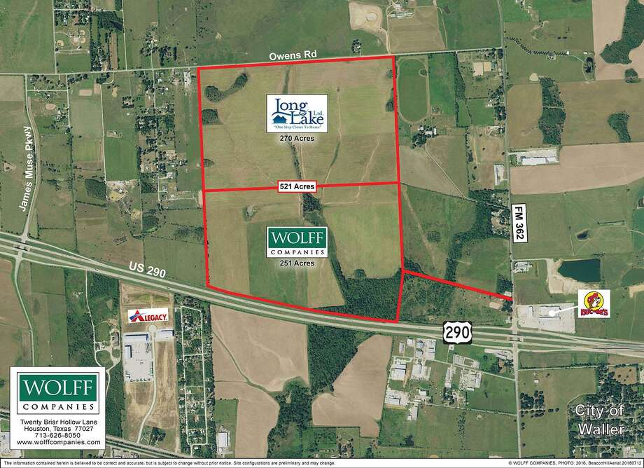 Houston-based Wolff Cos. has acquired 521 acres along U.S. 290 in Waller for a the Waller Hill business park and a residential development by Long Lake Ltd.The land is on the north side of U.S. 290, west of FM 362. Photo: Wolff Cos.