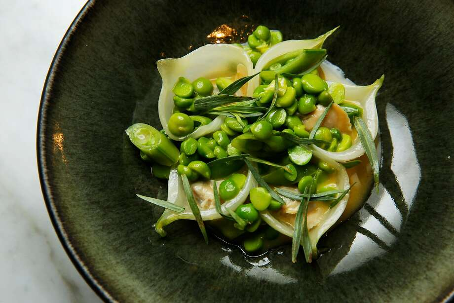 Peas with spring onions and clam at Nico. Photo: Santiago Mejia / The Chronicle