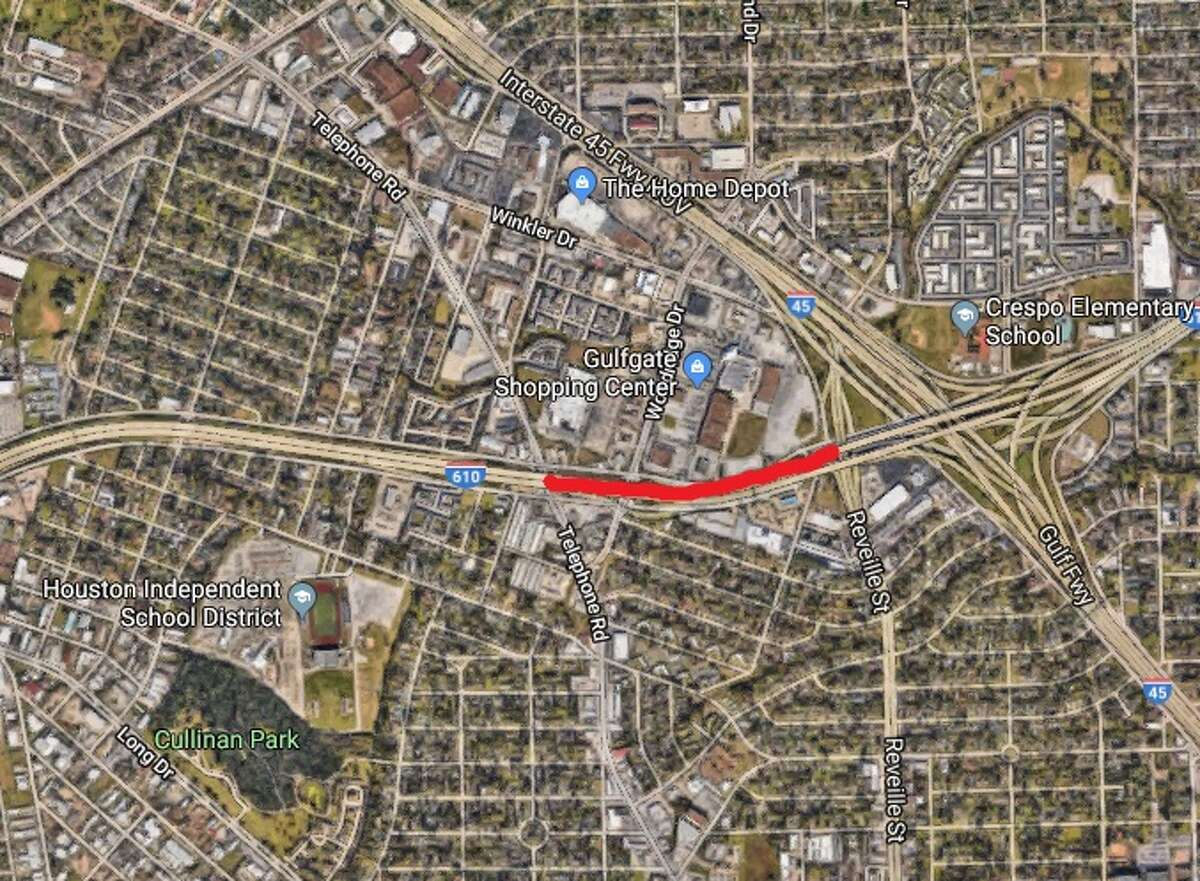 All eastbound and westbound main lanes on Loop 610 will close from 9 p.m. Friday to 3 p.m. Monday, July 16, 2018.
