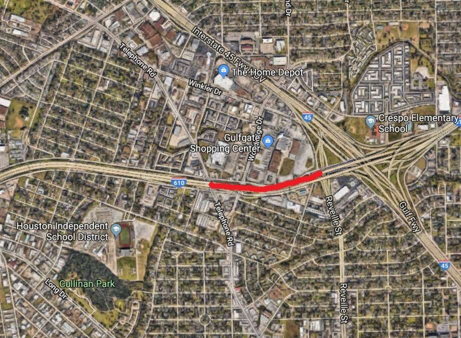 All eastbound and westbound main lanes on Loop 610 will close from 9 p.m. Friday to 3 p.m. Monday, July 16, 2018. Photo: Google Earth