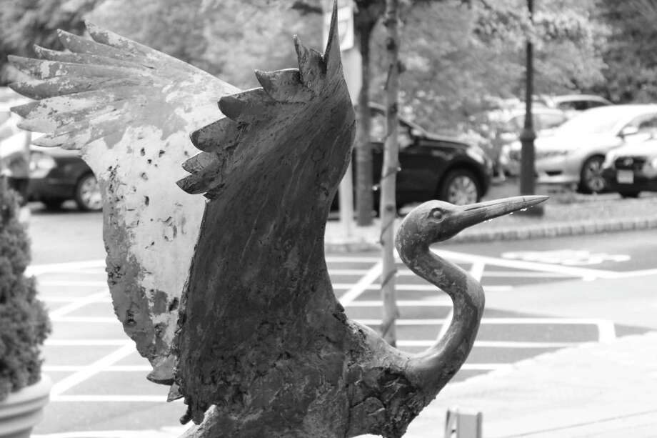 Stork outside Darien Library. Photo: Contributed Photo