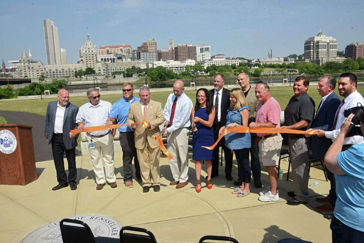 The City of Rensselaer, alongside local and state officials, open its new public esplanade, a $3 million-plus public works project made possible through funding from the New York State Department of State on Friday, July 13, 2018 in Rensselaer, N.Y. (Lori Van Buren/Times Union)