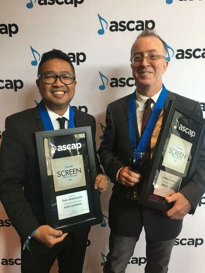 "Phil Hernandez (on left) and Chris Maxwell with their 2018 ASCAP Awards for the Fox animated series ""Bob's Burgers."" Photo: Courtesy Photograph / Courtesy Photograph"