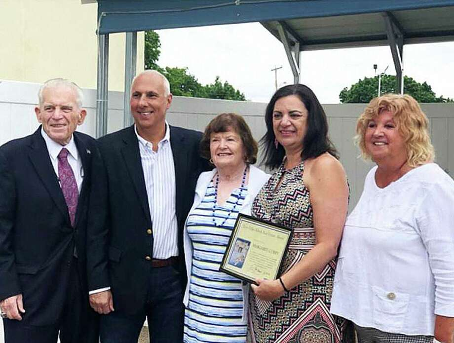 The Mary Ellen Klinck Real Estate Agent of the Year Award was presented to Margaret Curry of William Raveis in Middletown. From left are president of the Middlesex County Chamber of Commerce Larry McHugh; co-chairman of the Middlesex County Chamber of Commerce Real Estate Council David Gallitto; recipient Mary Ellen Klinck; Margaret Curry of William Raveis and co-chairwoman of the Middlesex County Chamber of Commerce Real Estate Council, Nancy Currlin. Photo: Contributed Photo