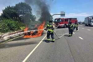 Car fire in Norwalk, Conn., on July 13, 2018.