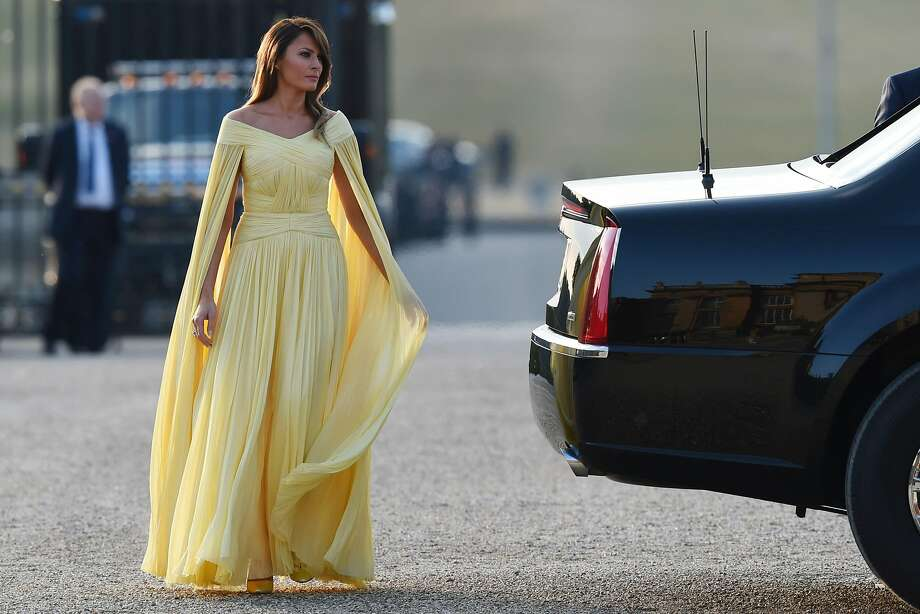 US First Lady Melania Trump arrives for a black-tie dinner with business leaders at Blenheim Palace, west of London, on July 12, 2018, as President Trump begins his first visit to the UK as US president.  Photo: GEOFF PUGH, AFP/Getty Images