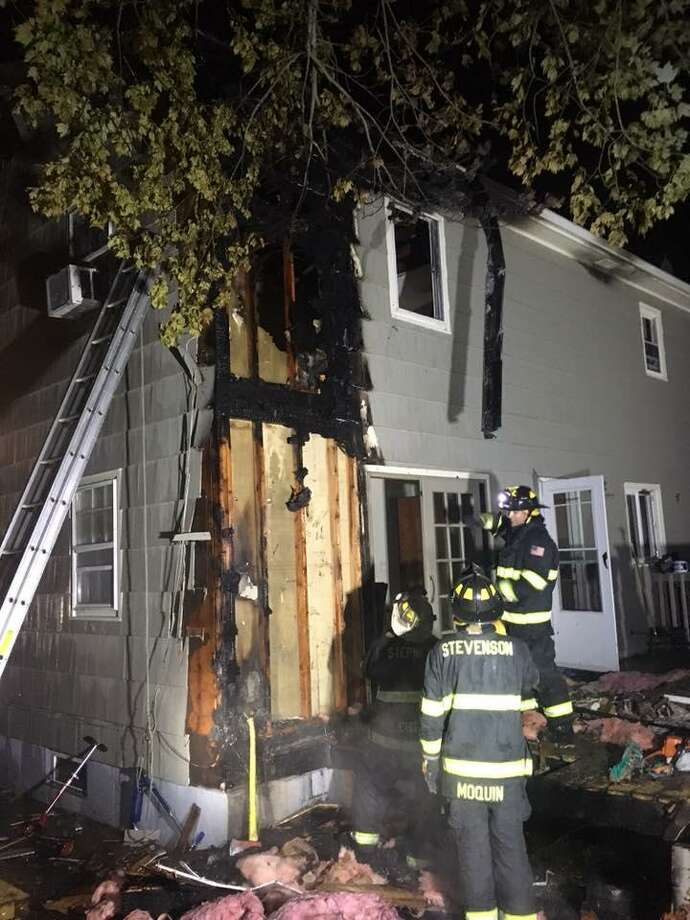 Monroe, Conn., firefighters battled a second blaze in less than 10 hours just after midnight on July 13, 2018. Photo: Contributed Photo / Monroe Volunteer Fire Department