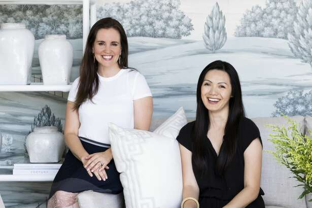 From left, Marie Flanigan of Marie Flanigan Interiors and Cathy Lam at Lam's new Lam Bespoke store in Memorial Green.