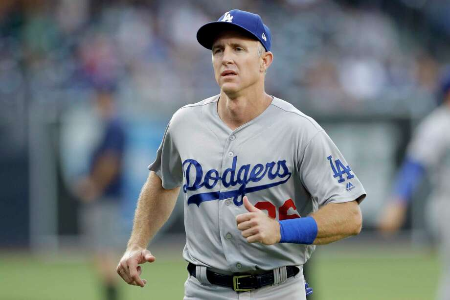 Los Angeles Dodgers second baseman Chase Utley looks on before a baseball game against the San Diego Padres Thursday, July 12, 2018, in San Diego. (AP Photo/Gregory Bull) Photo: Gregory Bull, Associated Press / Copyright 2018 The Associated Press. All rights reserved
