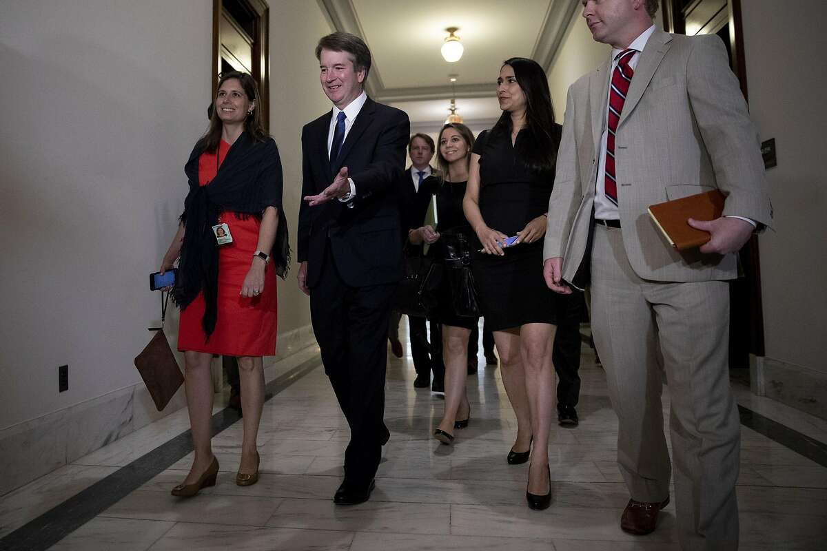 WASHINGTON, DC - July 11: Judge Brett Kavanaugh arrives to meet with Senator Lindsey Graham (R-SC) July 11, 2018 on Capitol Hill in Washington, DC. Judge Kavanaugh, currently of the DC Circuit Court, is President Donald Trump's nominee to replace retiring Supreme Court Justice Anthony Kennedy. (Photo by Aaron P. Bernstein/Getty Images)