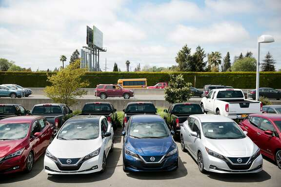 A row of new 2018 Nissan LEAF electric vehicles at the Jim Bone Nissan dealership in Santa Rosa, California, Thursday, May 3, 2018. Ramin Rahimian/Special to The Chronicle