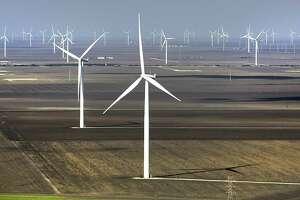 Wind turbines in the Papalote Creek Wind Farm near Taft, TX.  Monday, Oct. 28, 2013.