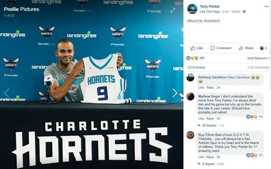 Tony Parker changed his Facebook profile Friday, July 13, 2018. to show he was officially part of the Charlotte Hornets. Photo: Screenshot