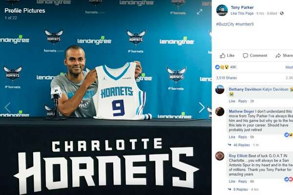 Tony Parker changed his Facebook profile Friday, July 13, 2018. to show he was officially part of the Charlotte Hornets.