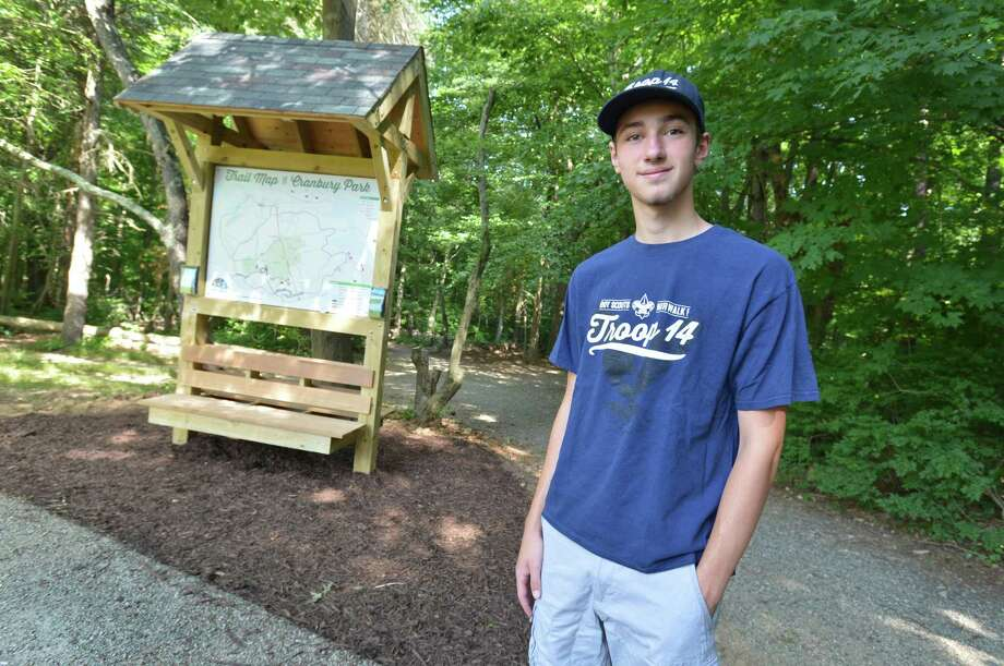 Trevor Anderson stands near the trail map kiosk at Cranbury Park that he built for his Boy Scout Troop 14 Eagle Scout badge on Thursday July 12, 2018 in Norwalk Conn. Photo: Alex Von Kleydorff / Hearst Connecticut Media / Norwalk Hour