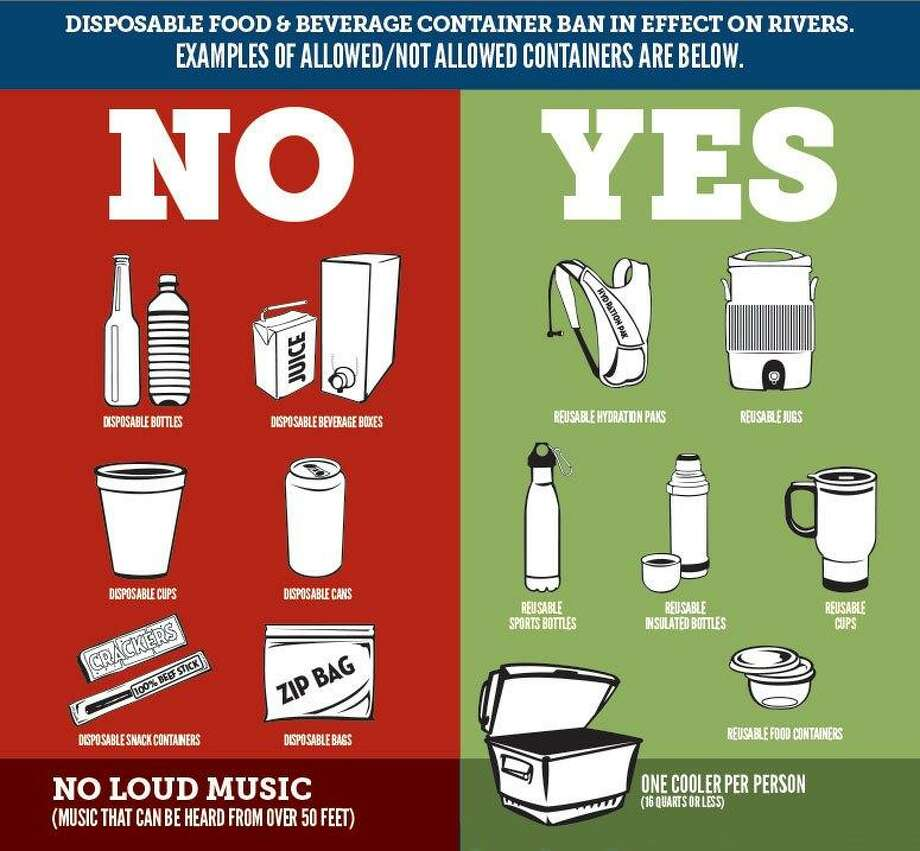 The can ban, passed in New Braunfels last August, forbids any disposable food or beverage containers on the river. That includes Ziploc bags, Styrofoam coolers, snack packaging, juice boxes, beer cans and more. If the container is designed for a single use, it's banned on both the Comal and Guadelupe rivers. Photo: City Of New Braunfels