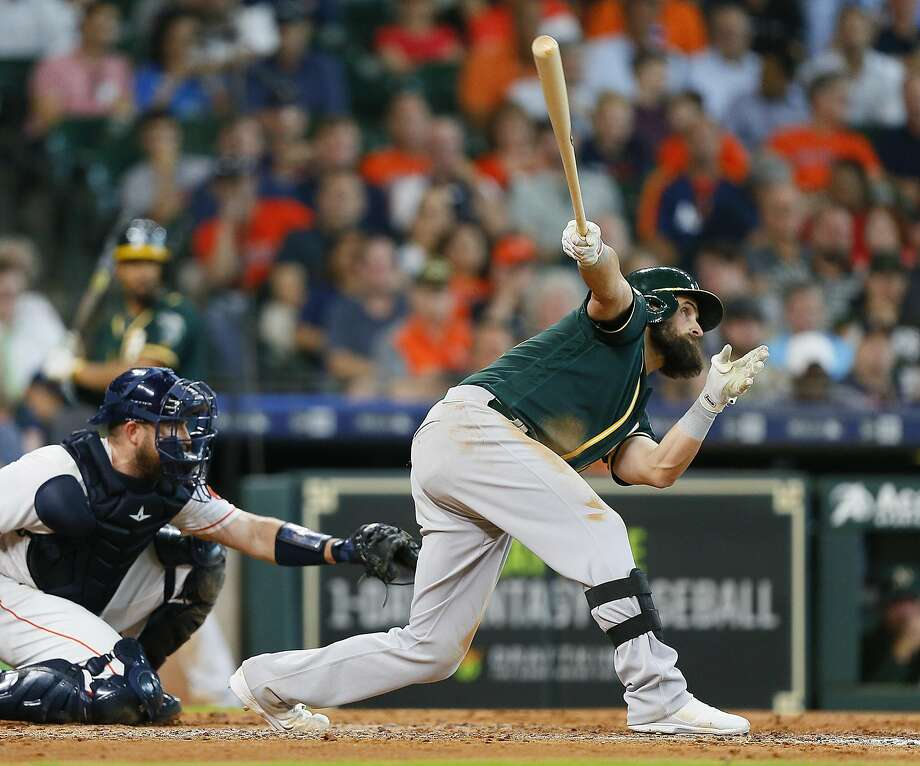 HOUSTON, TX - JULY 12:  Nick Martini #38 of the Oakland Athletics doubles in the fifth inning scoring two runs against the Houston Astros at Minute Maid Park on July 12, 2018 in Houston, Texas.  (Photo by Bob Levey/Getty Images) Photo: Bob Levey / Getty Images