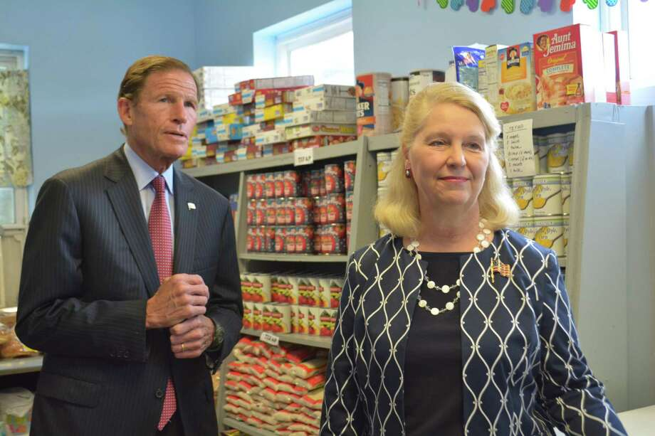 U.S. Sen. Richard Blumenthal D-Conn., visits with Deirdre Houlihan DiCara, Executive Director of Fish Photo: By Leslie Hutchison / Hearst Connecticut Media