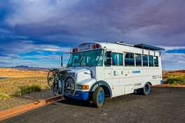 Heather Yandziak and Nicholas Underwood are traveling the United States in their 120-square-foot skoolie
