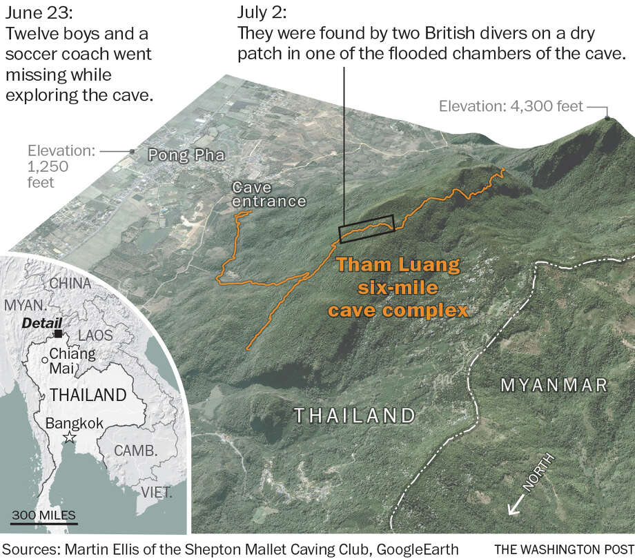 A map locating the Tham Luang cave complex Photo: The Washington Post