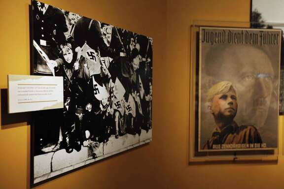 """Imagery targeting German youth is on display as part of the exhibit, """"State of Deception: The Power of Nazi Propaganda,"""" at the National Holocaust Museum in Washington in 2009. A reader suggests that not all Nazi comparisons to present day are inapt."""
