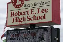 The sign at Robert E. Lee High School Thursday November 12, 2015 at 1400 Jackson Keller road in San Antonio. After objections to the name were raised, it was changed to Legacy of Educational Excellence (LEE) High School.