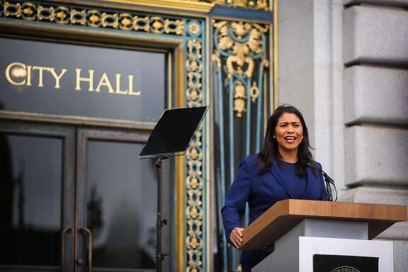 SAN FRANCISCO, CA - JULY 11: Mayor-elect London Breed practices her speech outside City Hall ahead of the mayoral inauguration July 11, 2018 in San Francisco, California.   (Photo by Gabrielle Lurie-Pool/Getty Images)