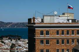 The Russian flag is seen over the Russian consulate in San Francisco, Calif. Monday, October 2, 2017.