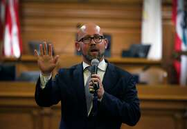 Rafael Mandelman thanks his supporters before he is sworn in by City Attorney Dennis Herrera as Supervisor for District 8 at City Hall in San Francisco, Calif. on Wednesday, July 11, 2018.