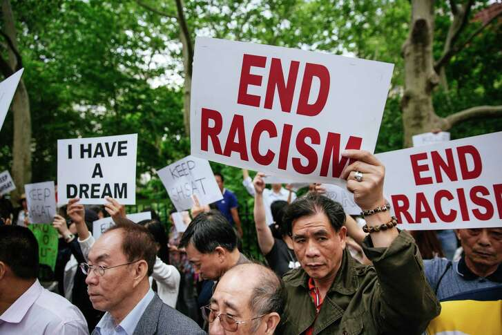 FILE — A rally protesting New York City's plan to change admissions policies for specialized high schools, in Manhattan, June 5, 2018. Though Asian-Americans have been among the most vocal and visible opponents of race-based affirmative action policies, the reality of national surveys show that most favor affirmative action in education. (Kevin Hagen/The New York Times)