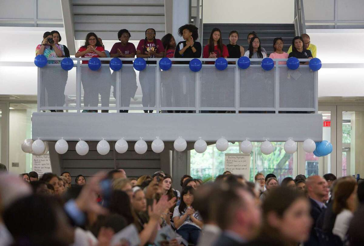 Students and visitors fill the new Michael E. DeBakey High School for Health Professionals during a grand opening celebration for the new building in the Texas Medical Center, Thursday, June 1, 2017, in Houston. (Mark Mulligan / Houston Chronicle)