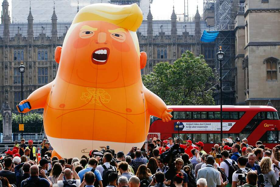 "The ""Trump Baby"" blimp, a helium-filled effigy of U.S. President Donald Trump, lifts off from Parliament Square in London.  Photo: Luke MacGregor"