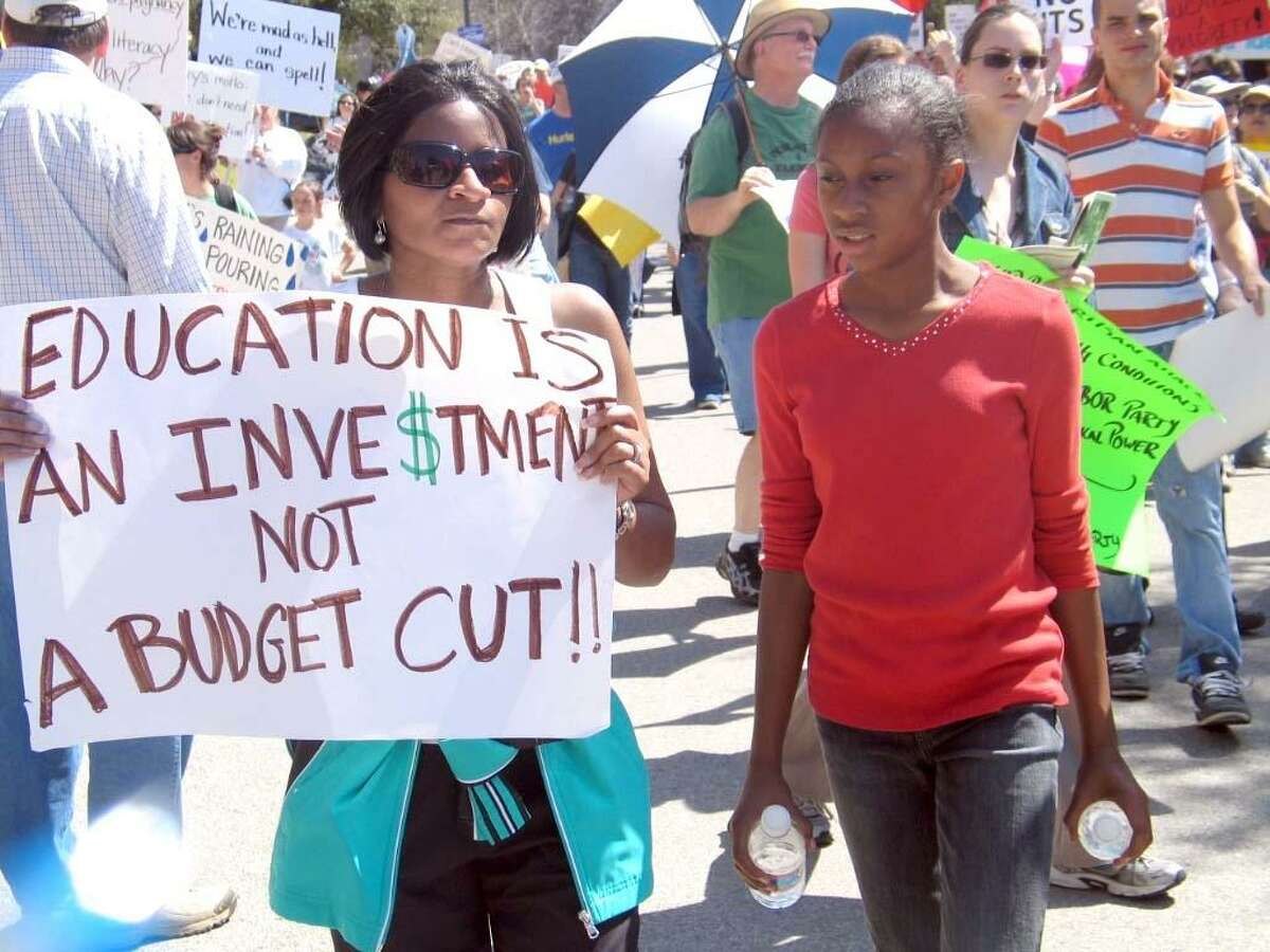Citizens speak out over proposed cuts to public education funding at a rally organized by Save Texas Schools, a nonpartisan group of volunteers whose goal is to educate elected officials about the importance of maintaining funding for Texas public education.