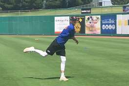 RockHounds pitcher Brian Howard warms up before Midland?'s game against the Corpus Christi Hooks, Friday at Security Bank Ballpark. Will Korn/Reporter-Telegram