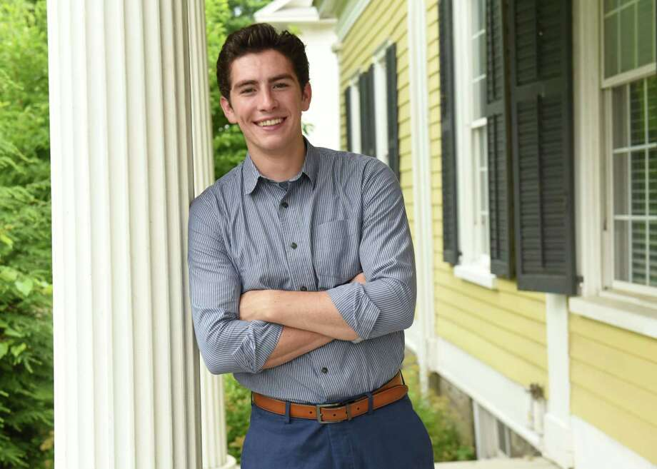 Jackson VanDerwerken stands on the porch of his home on Tuesday, July 10, 2018 in Schoharie, N.Y. Jason just graduated from high school and plays a Mormon prophet in a new video made by the Mormon church. (Lori Van Buren/Times Union) Photo: Lori Van Buren / 20044308A