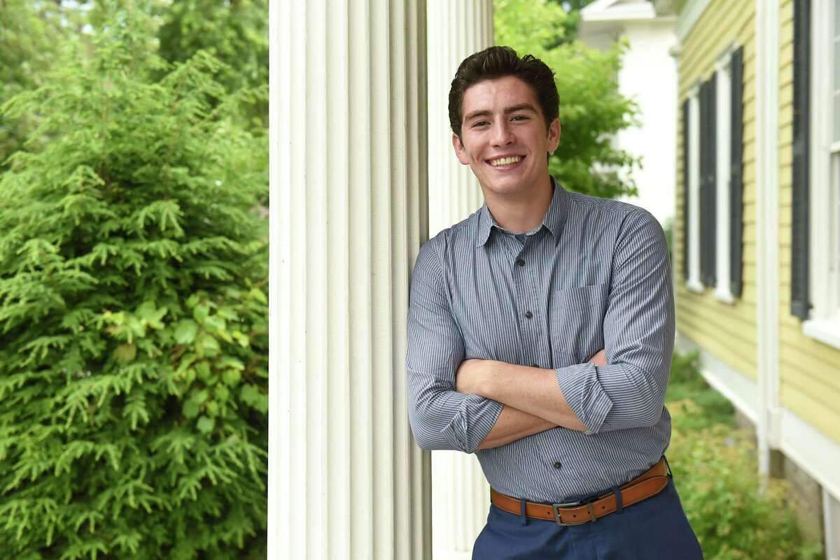 Jackson VanDerwerken stands on the porch of his home on Tuesday, July 10, 2018 in Schoharie, N.Y. Jason just graduated from high school and plays a Mormon prophet in a new video made by the Mormon church. (Lori Van Buren/Times Union)