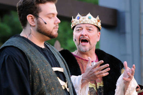 "At left, Joey Sanzaro was Hamlet and J. Kevin Smith was Claudius during Curtain Call's 15th annual free Shakespeare performance featuring the play ""Hamlet"" at the Sterling Farms Theatre Complex, Stamford, Conn., Friday, July 13, 2018. Hamlet is being directed by Kyle Runestad and has additional performances at Sterling Farms located at 1349 Newfield Avenue on July 15, 20, 21 & 22, all shows start at 7:30 p.m."