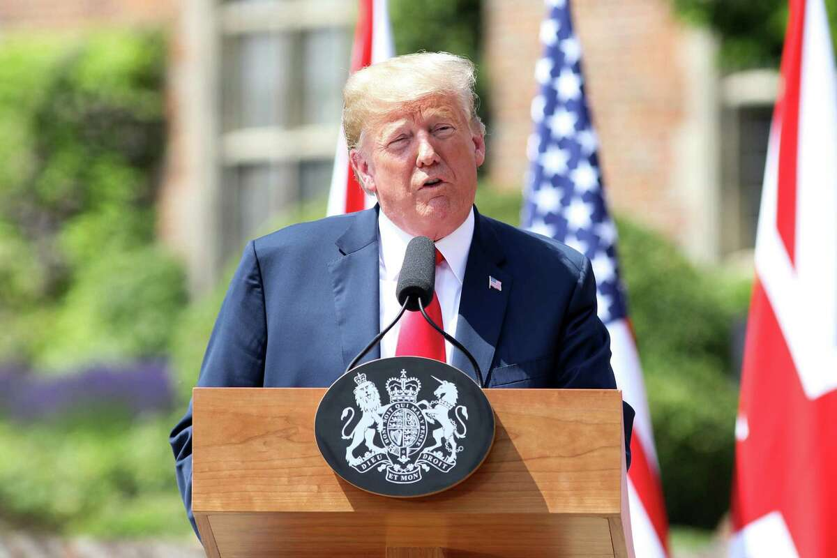 President Donald Trump, speaks during a news conference with British Prime Minister Theresa May in Aylesbury, U.K., on Friday, July 13, 2018.