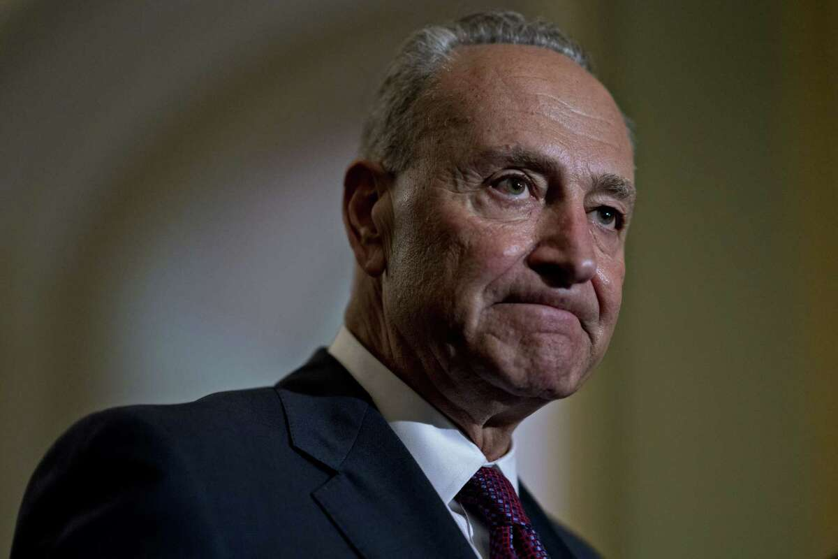 Senate Minority Leader Chuck Schumer, a Democrat from New York, pauses while speaking during a news conference after a weekly caucus meeting at the U.S. Capitol in Washington, D.C., U.S., on Tuesday, July 10, 2018. Senate Democrats trying to rally opposition to Supreme Court nominee Brett Kavanaugh are portraying him as a potential threat to the Russia investigation by special counsel Robert Mueller. Photographer: Andrew Harrer/Bloomberg