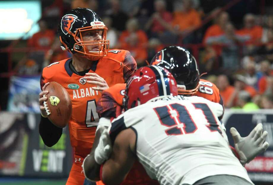 Albany Empire quarterback Tommy Grady looks for an opening  during a game against Washington Valor at the Times Union Center in Albany, N.Y., on Saturday, May 4, 2018. (Jenn March, Special to the Times Union) Photo: Jenn March / © Jenn March 2018 © Albany Times Union 2018
