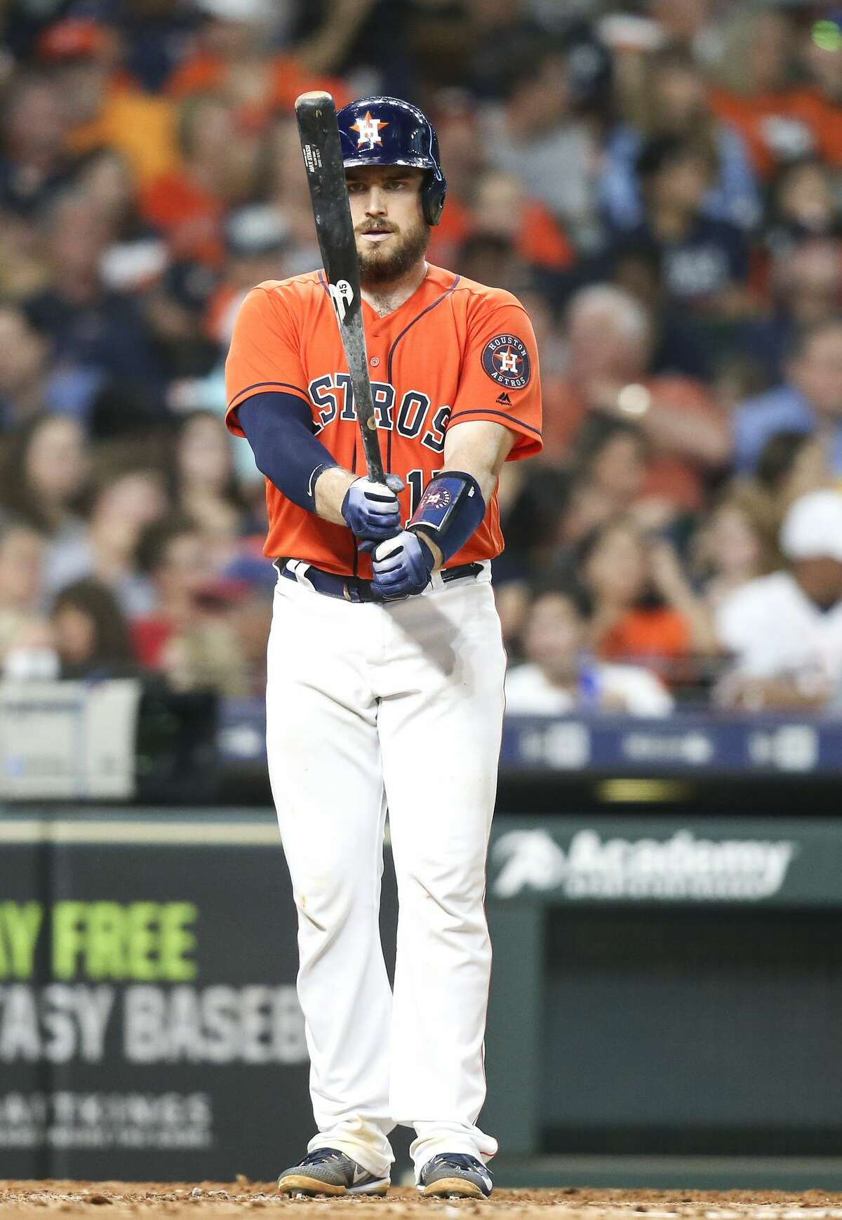 Houston Astros catcher Max Stassi (12) looks at his bad before stepping to the plate against the Detroit Tigers at Minute Maid Park on Friday, July 13, 2018 in Houston. Astros won the game 3-0. (Elizabeth Conley/Houston Chronicle)