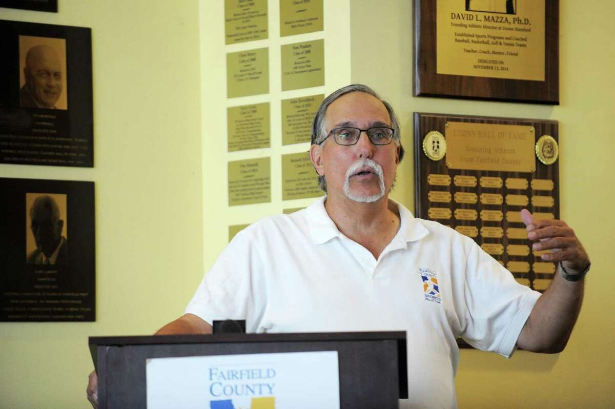 Fairfield Country Sports Commission Executive Director Tom Chiappetta speaks during the ceremony announcing the 2018 inductees to the Fairfield County Sports Hall of Fame inside UConn Stamford in downtown Stamford, Conn. on Wednesday, June 20, 2018.