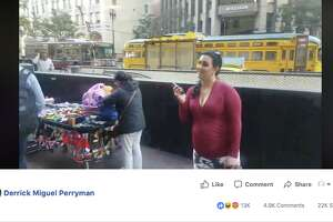"""A woman dubbed """"Permit Betty"""" can be seen questioning a San Francisco street vendor in a new viral video."""