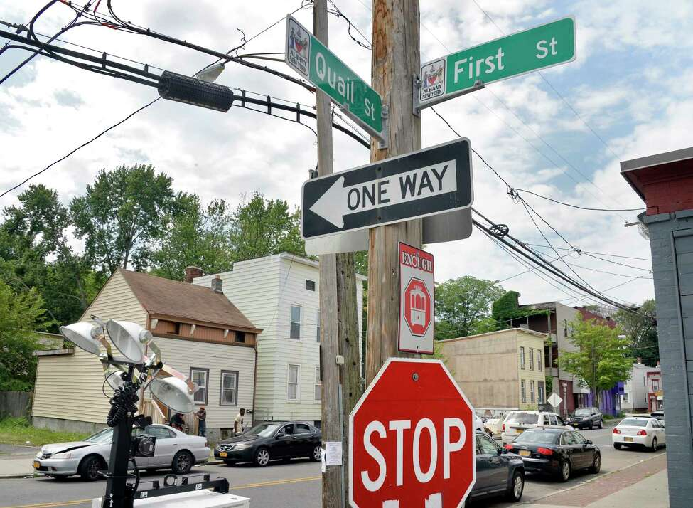 The corner of Quail and First streets, scene of an overnight shooting, Saturday July 14, 2018 in Albany, NY. It was the city's eighth homicide this year and the third this month. (John Carl D'Annibale/Times Union)early