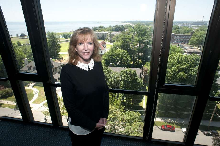 Laura Trombley is the new president of the University of Bridgeport, seen here in her office in Bridgeport, Conn. July 9, 2018. Photo: Ned Gerard / Hearst Connecticut Media / Connecticut Post