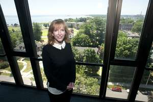 Laura Trombley is the new president of the University of Bridgeport, seen here in her office in Bridgeport, Conn. July 9, 2018.
