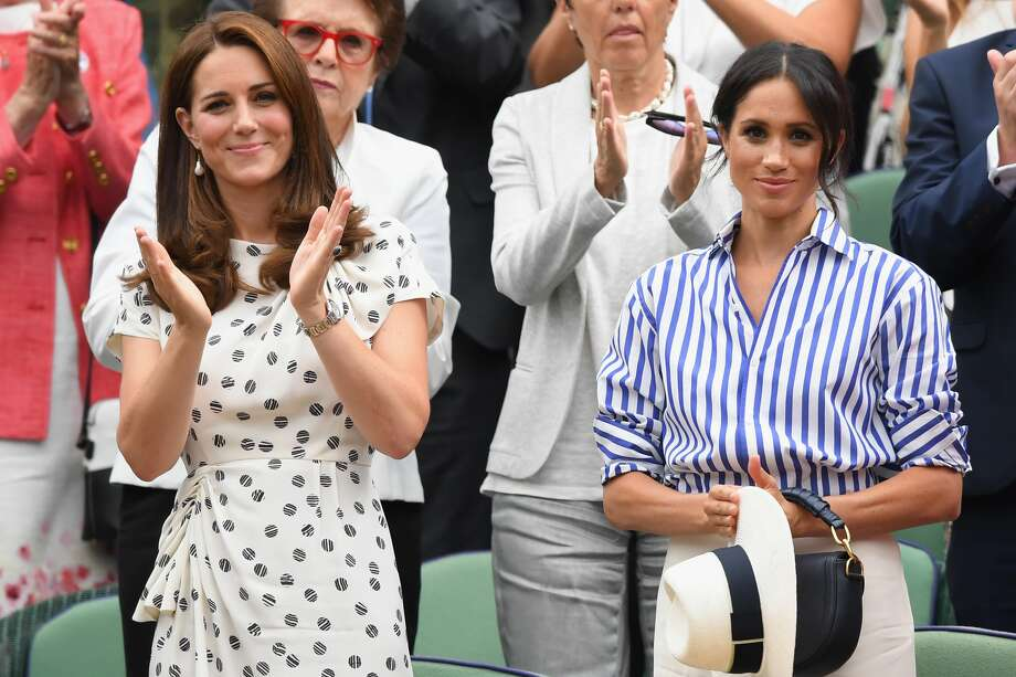 PHOTOS: Celebrities at Wimbledon this year LONDON, ENGLAND - JULY 14:  Catherine, Duchess of Cambridge and Meghan, Duchess of Sussex attends day twelve of the Wimbledon Tennis Championships at the All England Lawn Tennis and Croquet Club on July 13, 2018 in London, England.  (Photo by Karwai Tang/WireImage ) Browse through the photos above for a look at celebrities who attended Wimbledon this year. Photo: Karwai Tang/WireImage