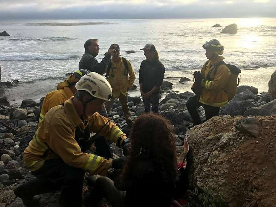 Rescue crews tend to Angela Hernandez at the bottom of a Monterey County cliff, where she had been for seven days. Photo: Monterey County Sheriff's Office