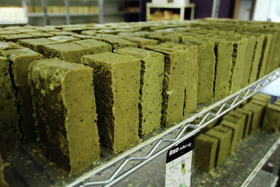 Bars of Kryptonite soap, an antibacterial soap, at the RAD Soap Co. are seen on a shelf in the shipping department on Wednesday, July 11, 2018, in Menands, N.Y. (Paul Buckowski/Times Union)